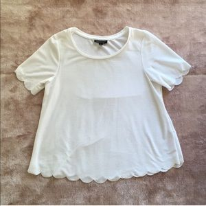 Top Shop scallop edge cropped tee